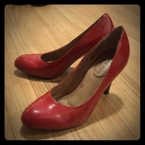 Corso combo patent leather heels